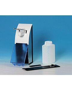 Dosierspender, 500 ml Füllmenge, Aluminium mit Spenderflasche, blaue Abdeckplatte