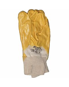 Nitrilhandschuh gelb, Größe 10, teilbeschichtet mit Strickbund