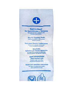 WBV Hygienebeutel, Papier, bedruckt Faltbeutel weiß, 120 + 50 x 280 mm